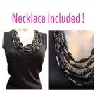 Adrienne Vittadini Black Sleeveless Bead Neck Knit Top  L NWOT
