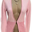 Adrienne Vittadini Pink & White Knit Cardigan Sweater S