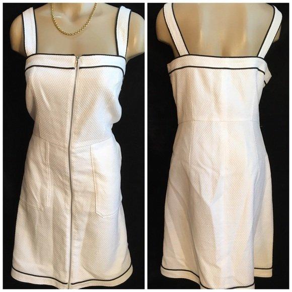 Ann Taylor White & Black Dress 10