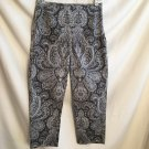 Ann Taylor Black & White Paisley Print Capri Cotton Pants 4