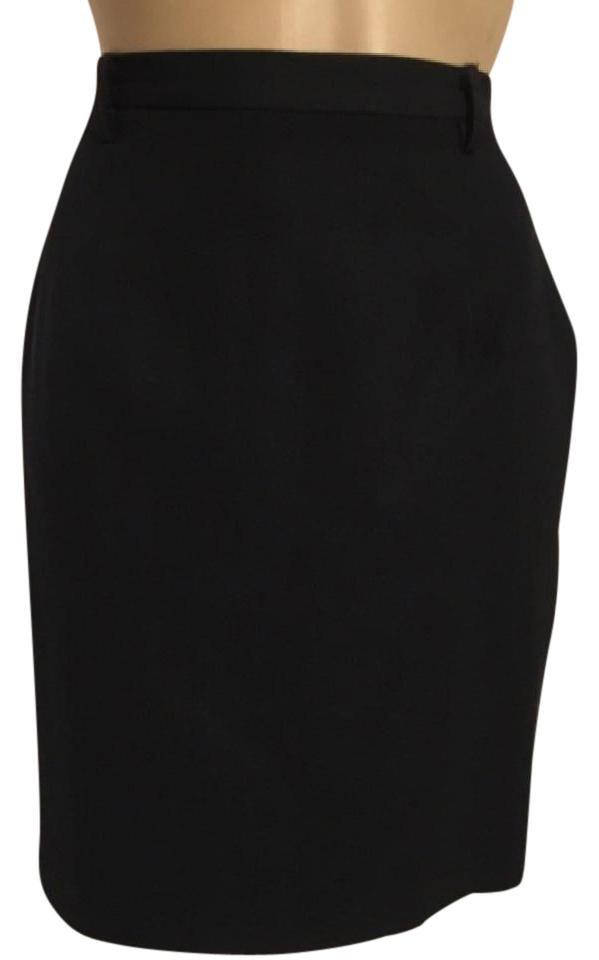Ann Taylor Black Knee Length Wool Career Skirt 6