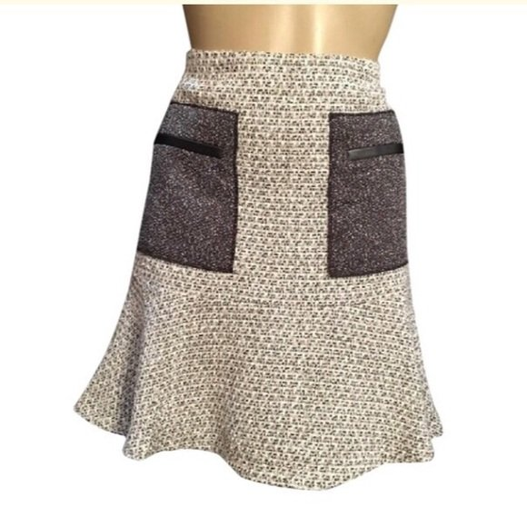 Ann Taylor Tan & Gray Patch Pocket Skirt 6 NEW