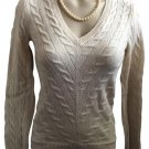 Ann Taylor Tan Cable Knit Long Sleeve Wool Sweater SP