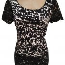 Ann Taylor Black & White Lace Edge Top M