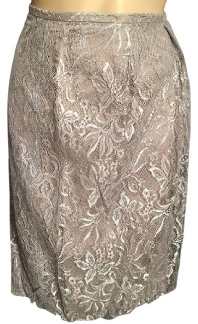 Ann Taylor Loft Gray Metallic Lace Bubble Mini Skirt 4