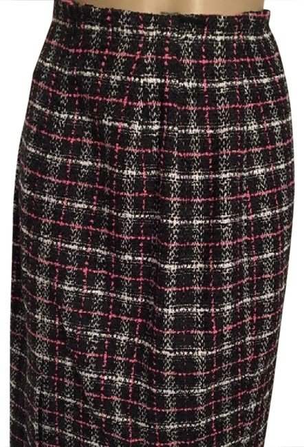 Ann Taylor Loft Black White Pink Plaid Skirt 6 NWT