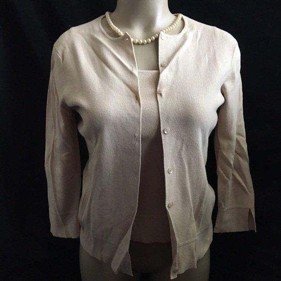 Ann Taylor Loft Tan Ribbed Cardigan & Top Twinset Sweater XS