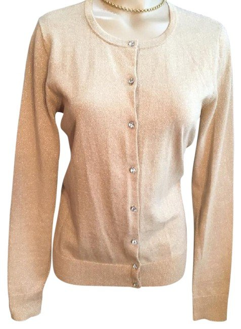 Ann Taylor Gold Lame' Cardigan Sweater M