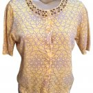 Ann Taylor Yellow Beaded Button Knit Top M