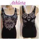 Athleta Black & Gray Print Athletic Top M