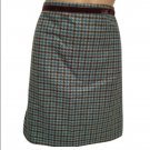 Banana Republic Green & Brown Herringbone Wool Mini Skirt 2 NWT