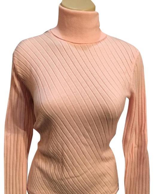 Banana Republic Pink Striped Turtleneck Wool Sweater M