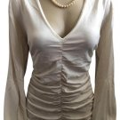 Banana Republic Ivory Long Sleeve Rutched Top L