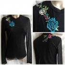 Cache Black Sheer Floral Embroidered Top L