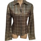 Chico's Brown & Blue Woven Zip Jacket 4 S 0 NEW