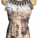 Dusak City Scene Beaded neck Tank Top M