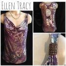 Ellen Tracy Purple & Gold Drape Neck Top S