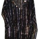 Ellen Weaver Black Sheer Print Dress XL