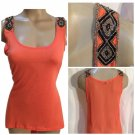 Guess Orange Beaded Tank Top XS