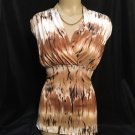 JKLA Brown & White Print Top L