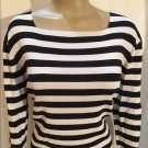 Jones New York Black & White Striped Top L