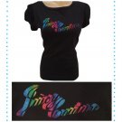 Juicy Couture Black Rainbow Logo Print Short Sleeve Tee Shirt S NWT