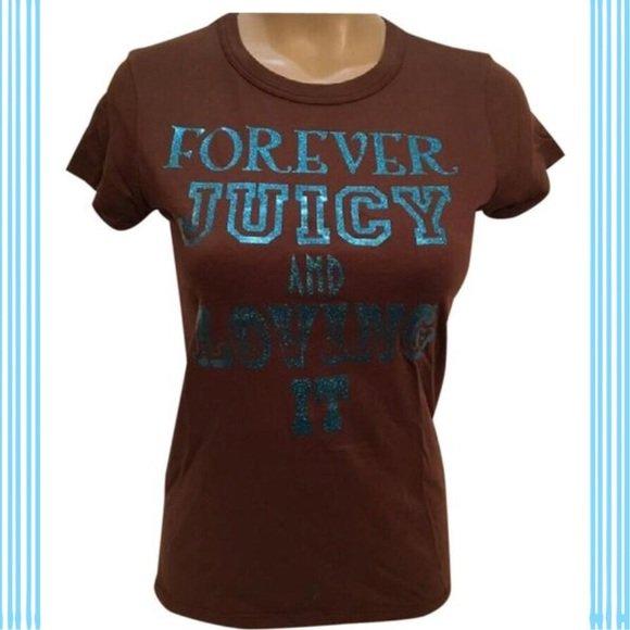 Juicy Couture Brown Short Sleeve Forever Juicy Tee Shirt M NWM