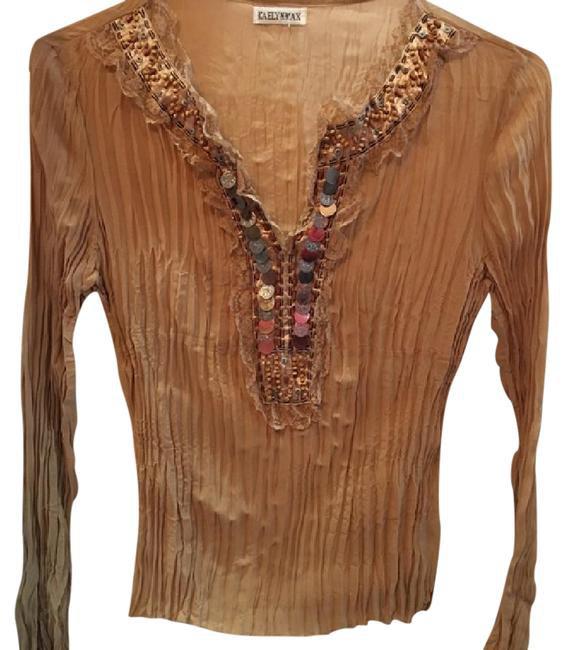 Kaelyn Max Brown Long Sleeve Peasant Embellished Top M NWOT