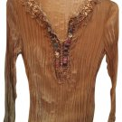 Kaelyn Max Brown Long Sleeve Peasant Embellished Top M NWOT