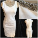 Monteau White Rhinestone Neck Dress L NEW