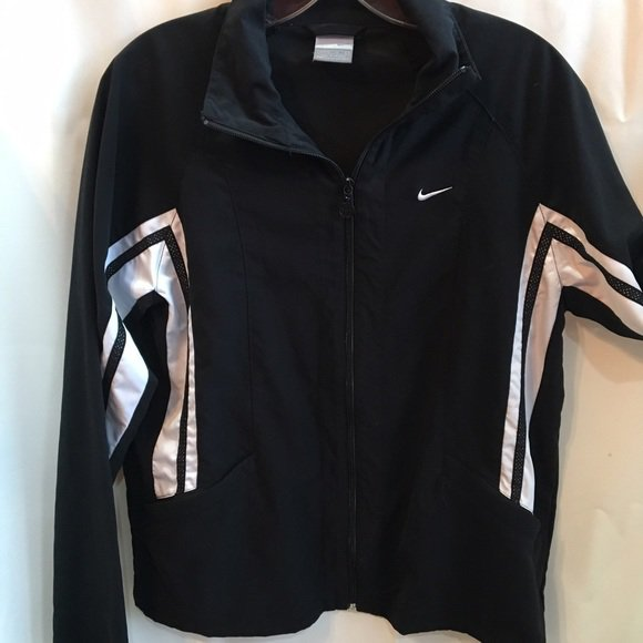 Nike Black & White Athletic Sport Zip Jacket M