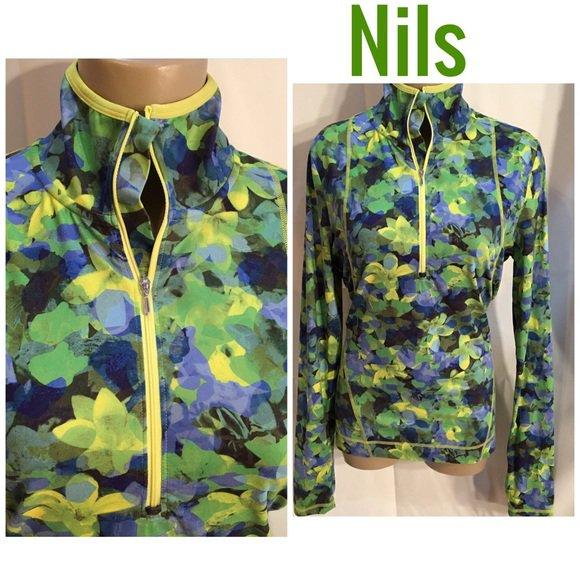 Nils Long Sleeve Floral Print Athletic Top L