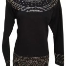 Neiman Marcus Outlander Black & Silver Embellished Long Sleeve Sweater S NWT