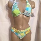 Body Glove Multi Color Geometric Print Halter Bikini Size M NWT