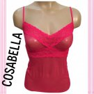 Cosabella Hot Pink Sheer Mesh & Lace Camisole Top M NWOT