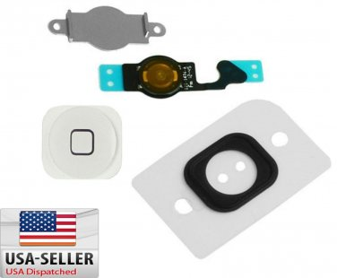 Home Menu Button Key Cap + Flex Cable + Bracket Holder for Apple iPhone 5 White
