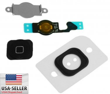 Home Menu Button Key Cap + Flex Cable + Bracket Holder for Apple iPhone 5 Black