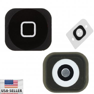 Black Home Button w/ Rubber Gasket Sticker + Metal Sticker for iPhone 5C