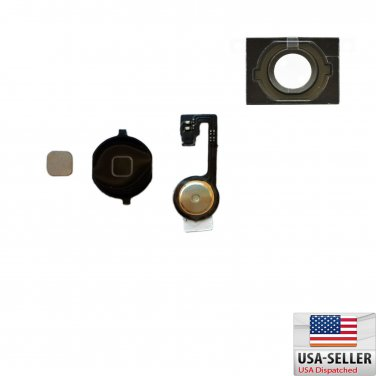 Black Home Menu Button Flex Cable + Key Cap Gasket assembly for Apple iPhone 4S