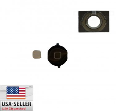 New Home Button Key Repair Part Replacement For iPhone 4S Black + Gasket