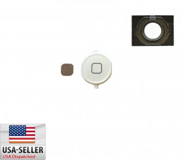 New Home Button Key Repair Part Replacement For iPhone 4S White + Gasket