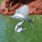 Post-1970s, Marx Sea Creatures: Sail Fish, Recast, Silver-colored Plastic