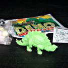 SCARCE 1988 Topps Plastic Dinosaur Stegosaurus, Green, Wrapper, ID Sheet, Candy Eggs