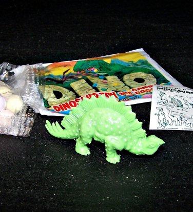 SCARCE 1988 Topps Plastic Dinosaur Stegosaurus, Green, Wrapper, ID Sheet, Candy Eggs