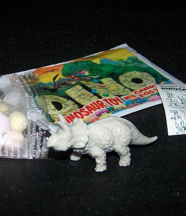 SCARCE 1988 Topps Plastic Dinosaur Triceratops, Gray, Wrapper, ID Sheet, Candy Eggs
