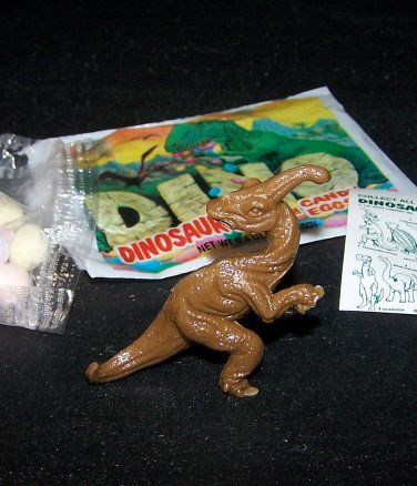 SCARCE 1988 Topps Plastic Dinosaur Parasaurolophus, Brown, Wrapper, ID Sheet, Candy Eggs