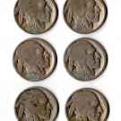 U.S. 6 'Buffalo' Nickel, Acid Dates (1915, 1916, 1917, 1919, 1925, 1927) Lot #2