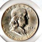 US 1963-D Franklin Half Dollar Uncirculated 90% Silver