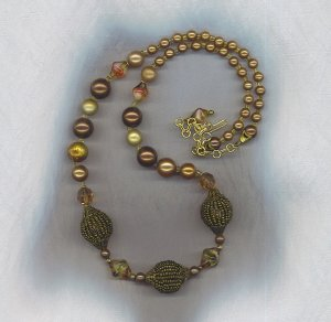 FREE SHIPPING! ELEGANT VTG. BEADED BEADS, ART GLASS, & PEARL NECKLACE
