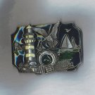 PEWTER ENAMELED LIGHT HOUSE THEME BELT BUCKLE